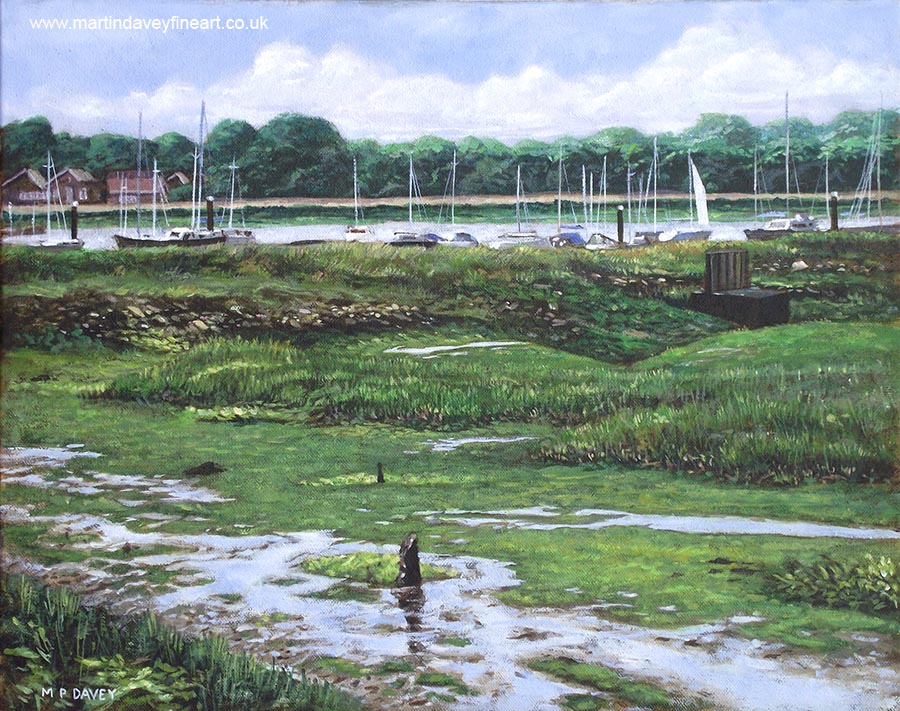 mudland and boats at Southampton River Hamble oil painting