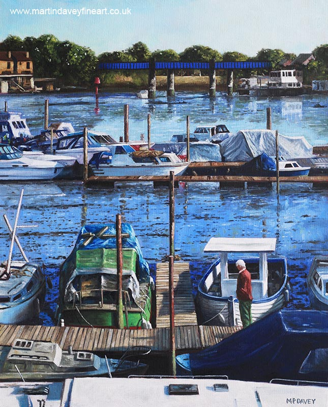 old boats at southampton_river_itchen_from_cobden_bridge oil painting