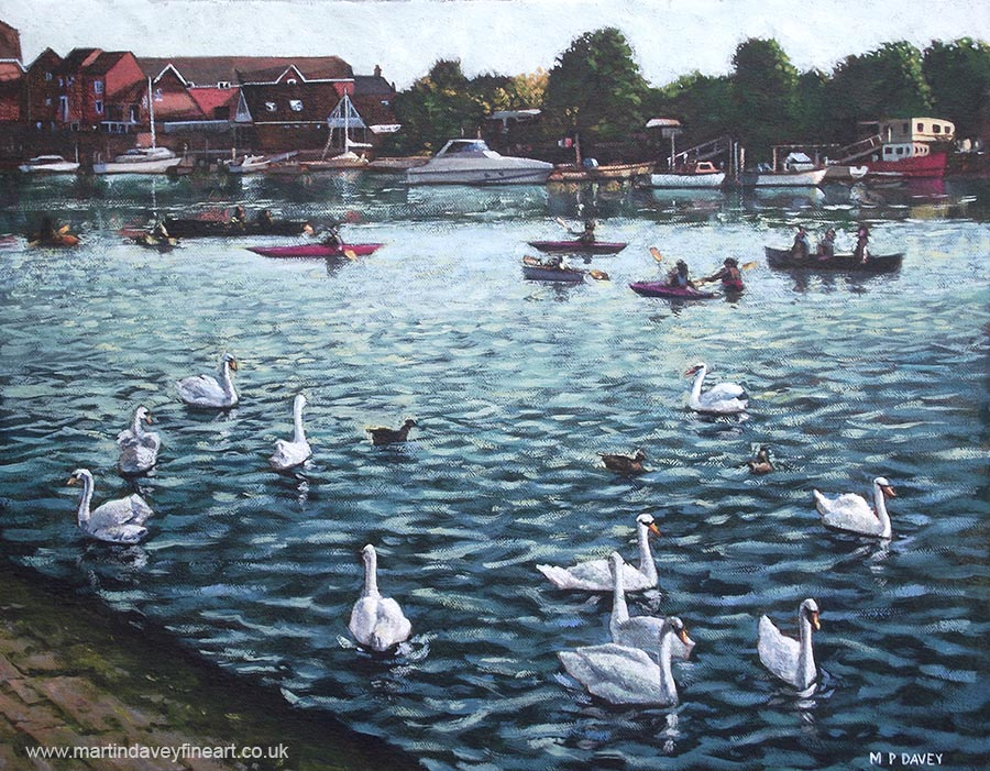 swans and boats at southampton_riverside_park oil painting