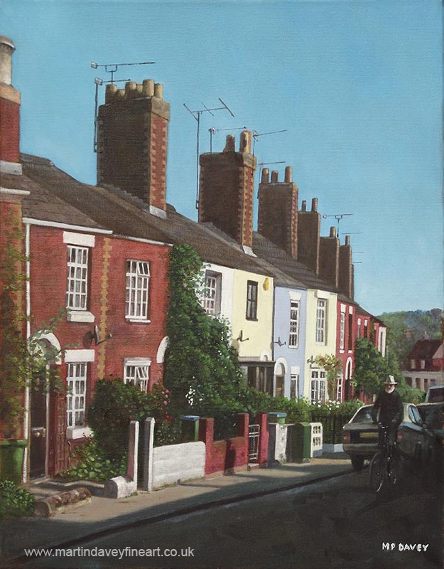 row of houses in southampton rockstone lane oil painting