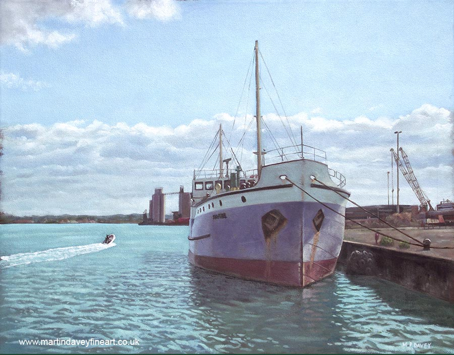 preserved steam ship shieldhall at Southampton docks oil painting