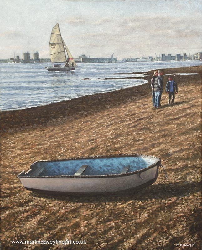 boats at southampton_weston_shore oil painting