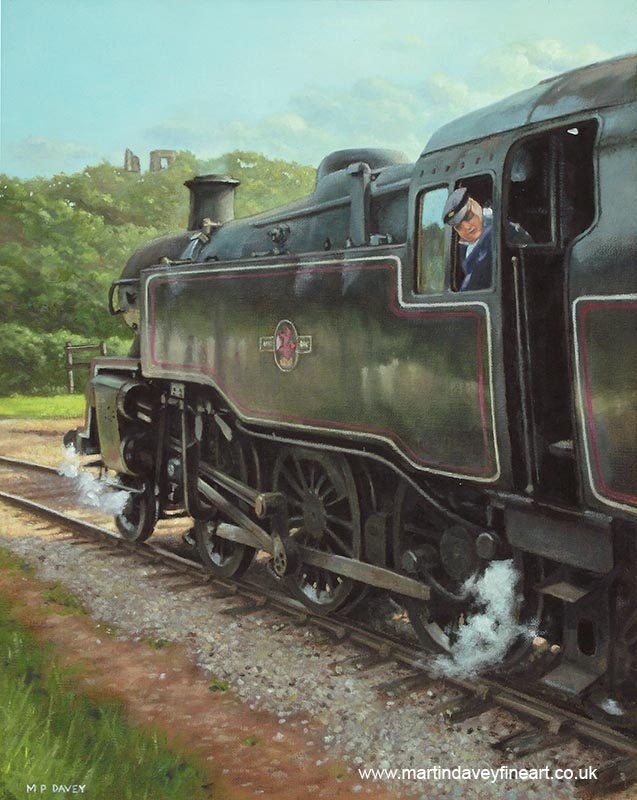 preserved BR Standard Class 4 swanage railway, steam engine 80104 oil painting
