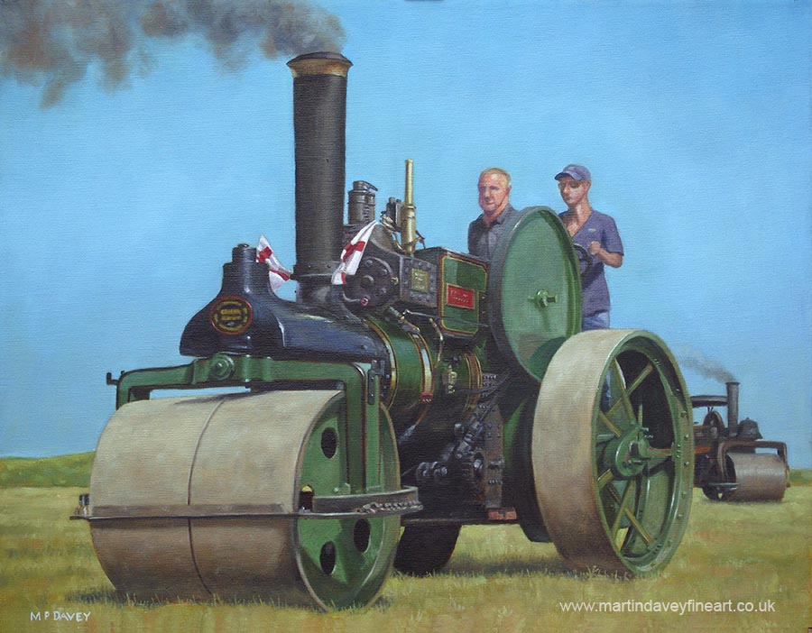 preserved Wallis & Steevens steam roller traction engine 1925 7844 old Ken oil painting