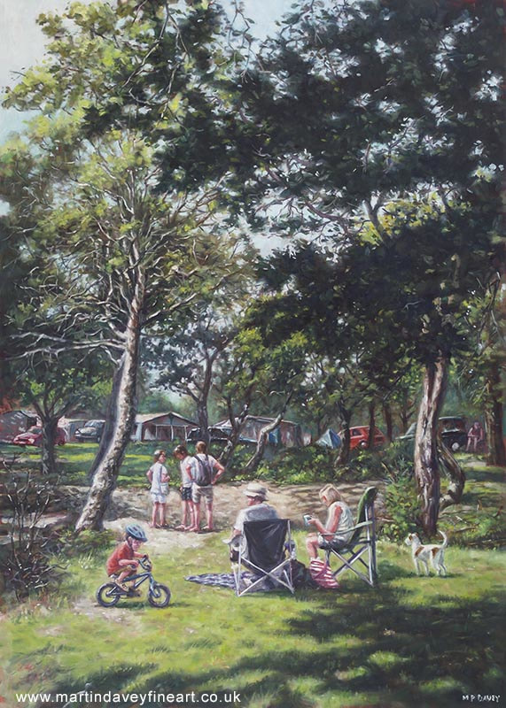 summer picnic new forest oil painting