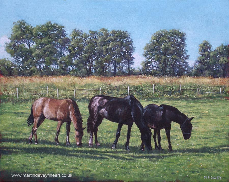 three horses standing in the new forest oil painting