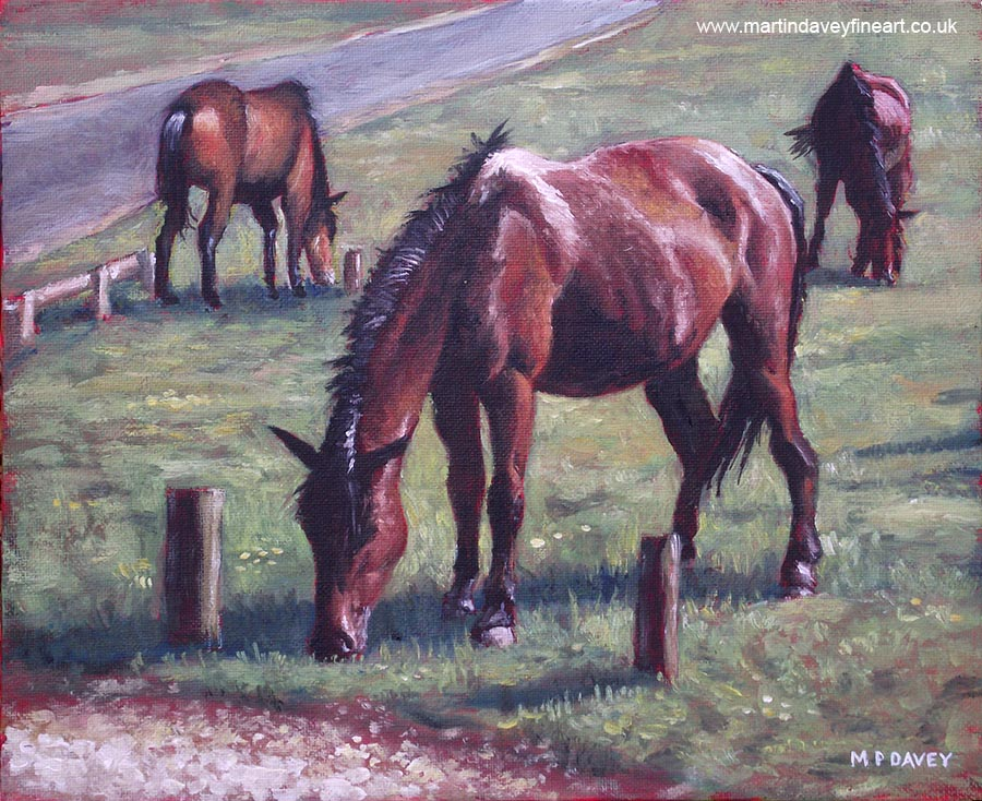 three horses standing on grass oil painting