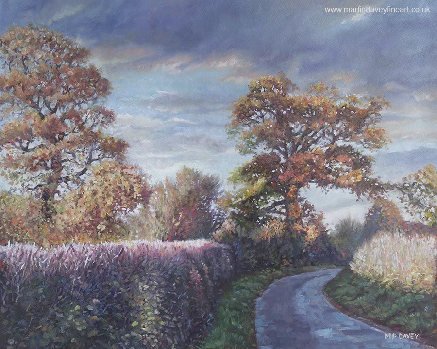 road in hampshire countryside evening oil painting