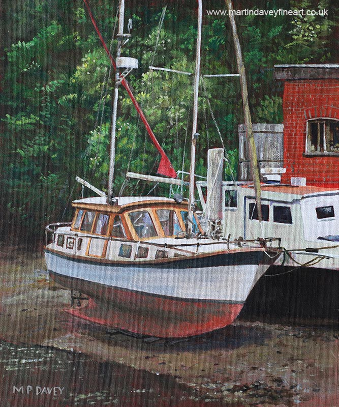 two_boats_on_eling_mudflats oil painting