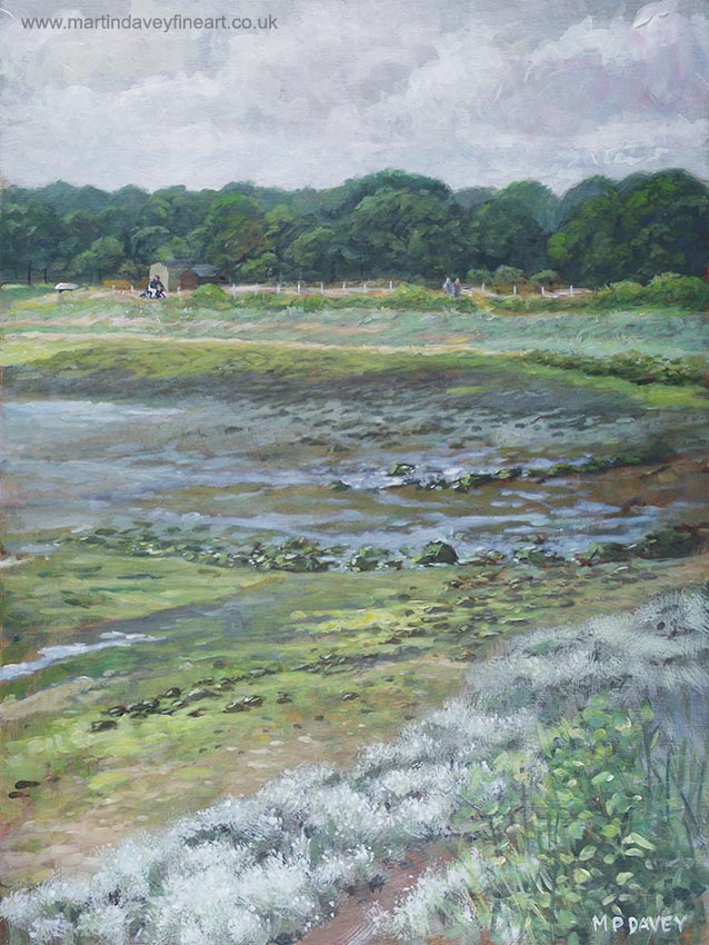 Warsash Coastline With Tide Out Hampshire acrylic painting