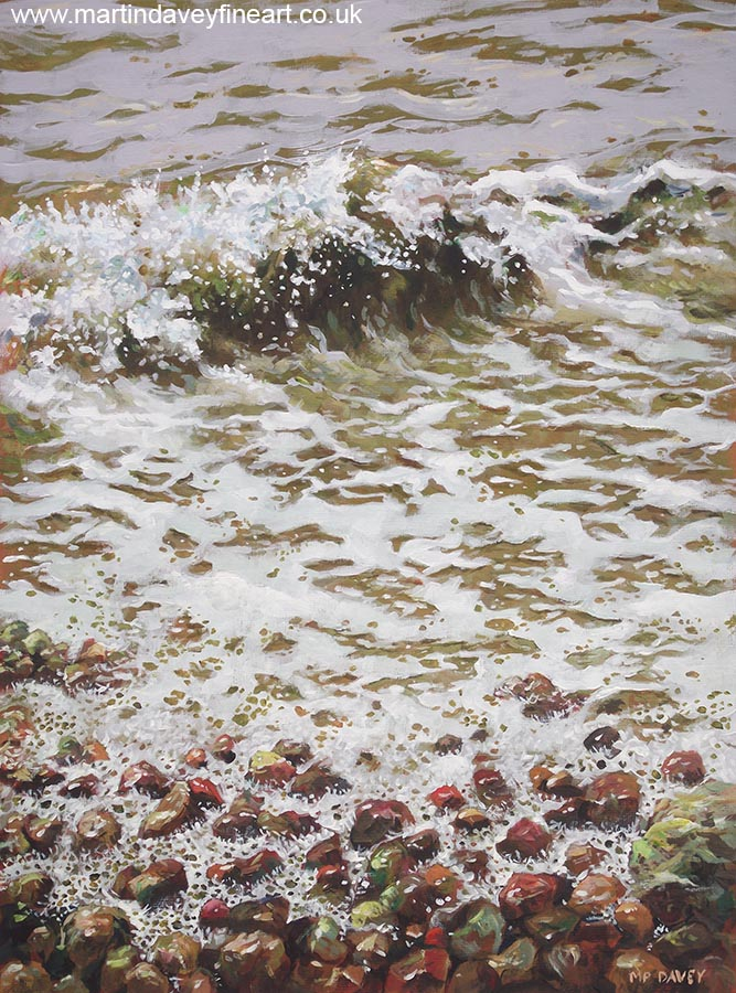 wet pebbles and sea waves painting