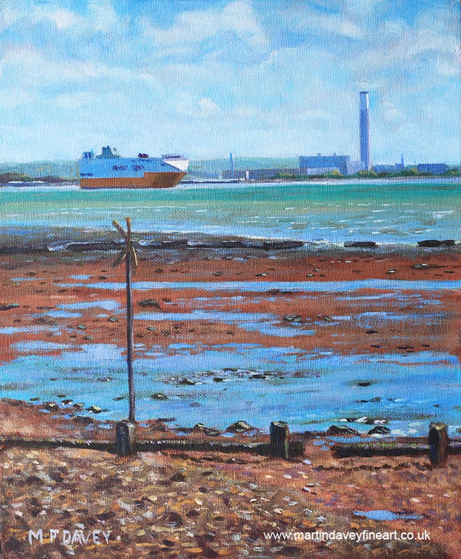 weston_shore_fawley_power_station acrylic painting