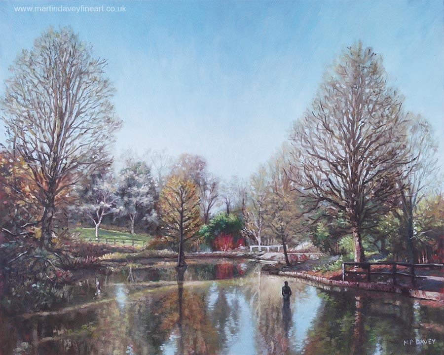 Hillier garden Hampshire during winter painting