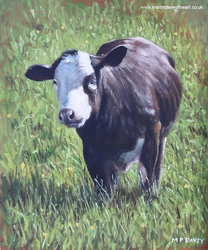 cow on grass oil painting