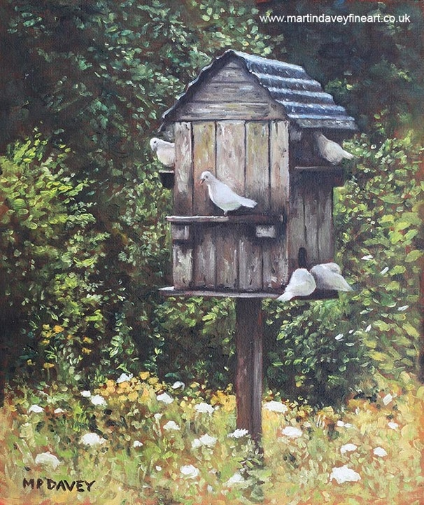 dove birds with dovecote oil painting