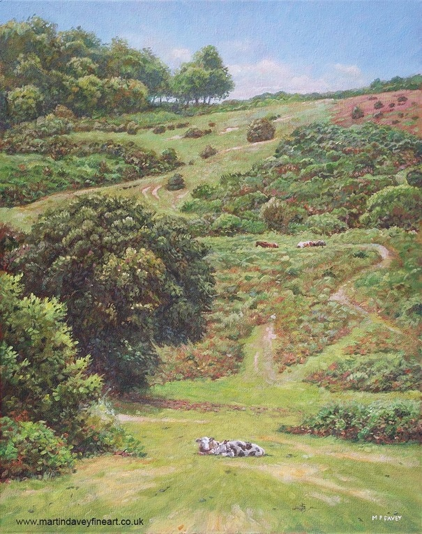painting cows horses hill new forest