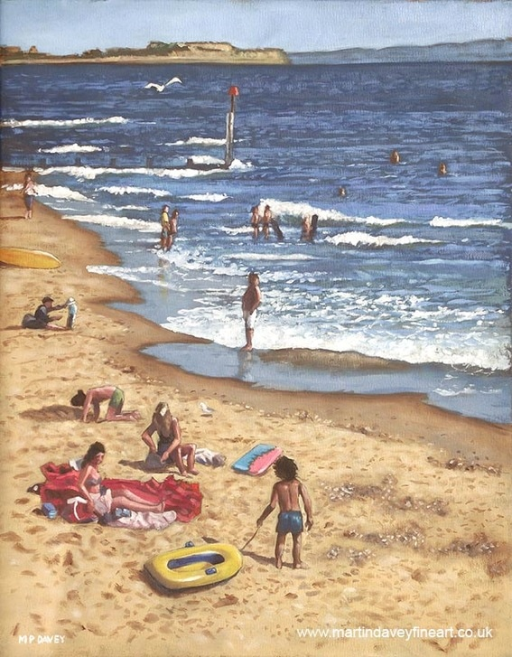 beach groin at southbourne beach oil painting