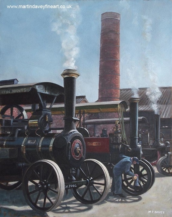 line up of traction_engines at bursledon brickworks southampton oil painting