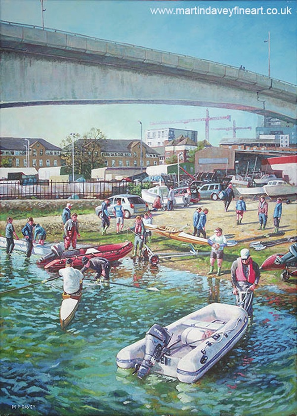 rowing at itchen bridge acrylic painting