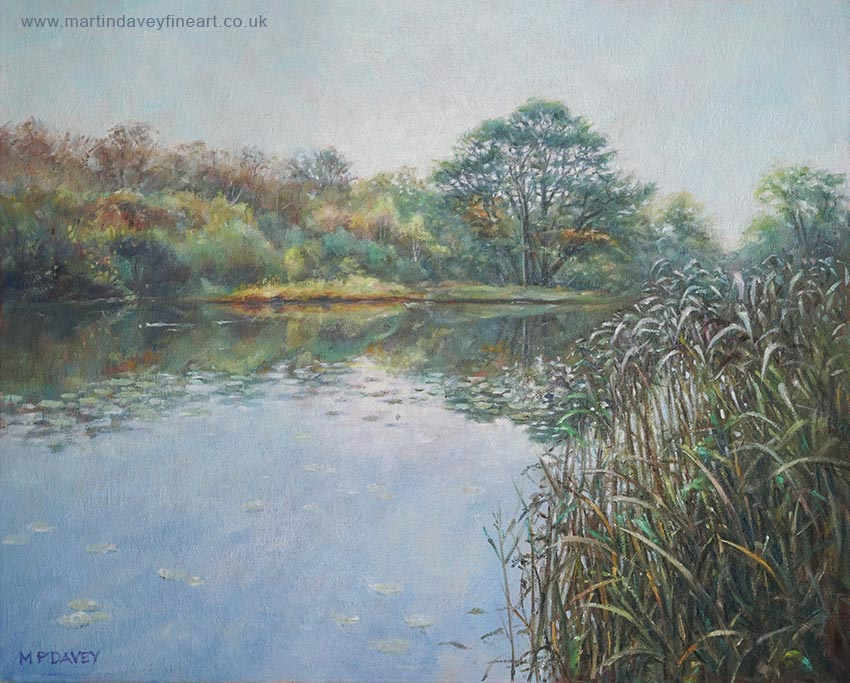 Southampton common lake at evening oil painting