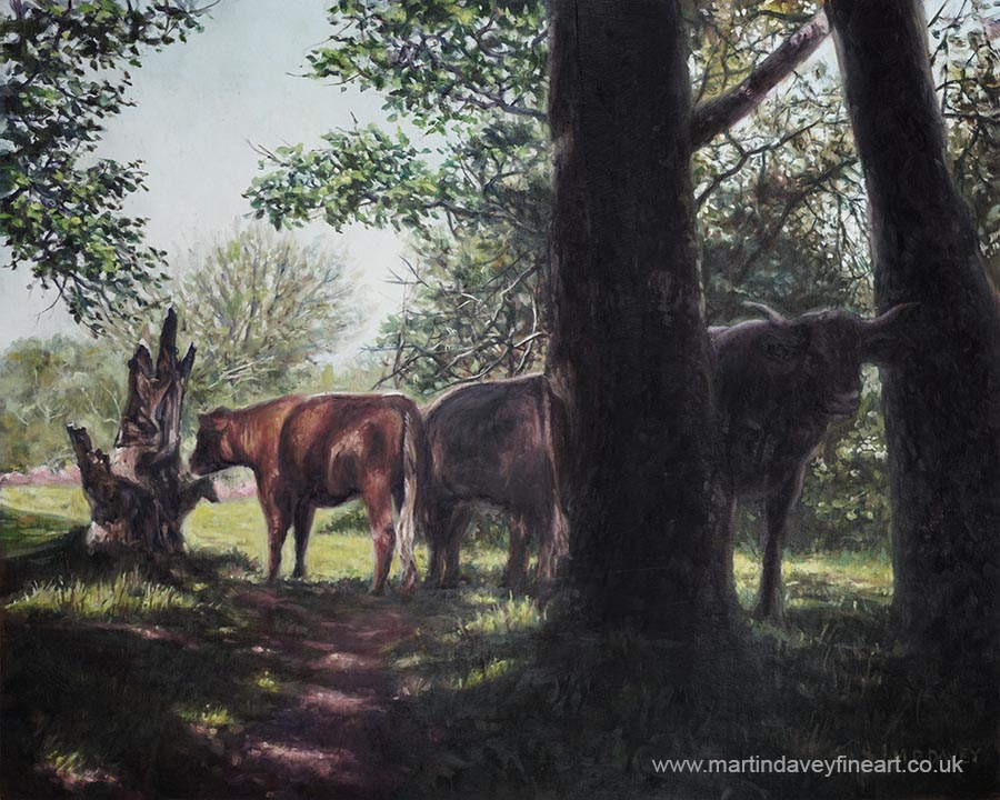 New Forest Hampshire cows and bulls oil painting