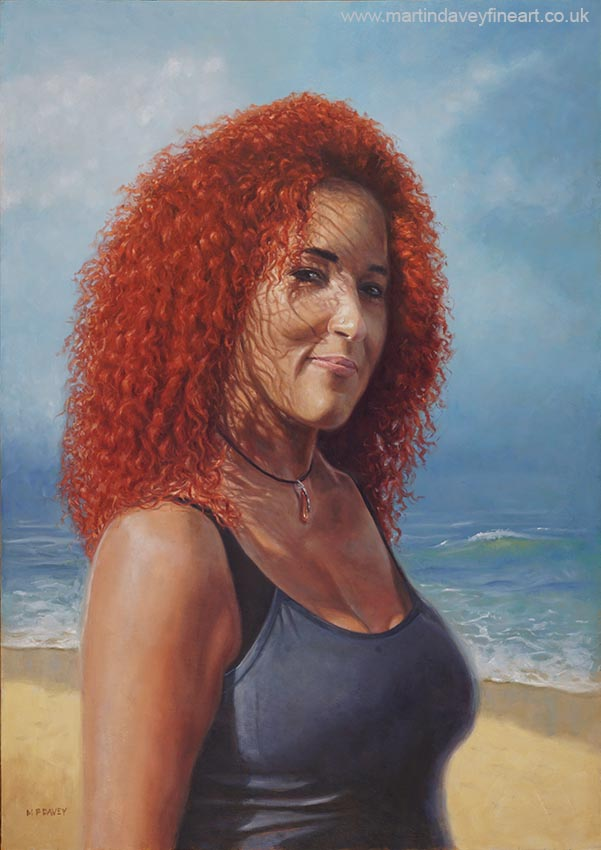 portrait of Julie Diaz on beach painting