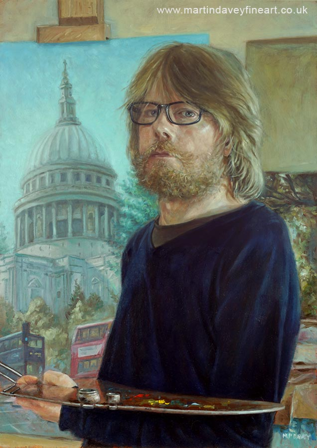 portrait of artist Martin Davey oil painting