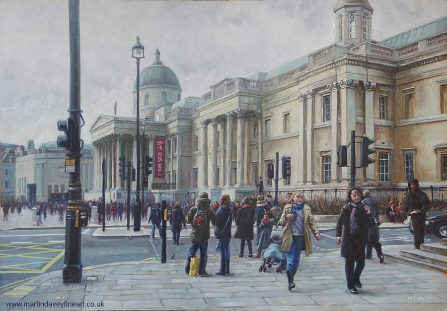 National Gallery London during a winters day oil painting