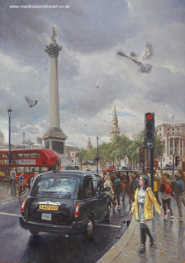 rainy day in London with taxi at nelsons column oil painting oil painting