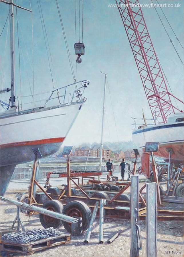 men at dry dock with boats Southampton  oil painting
