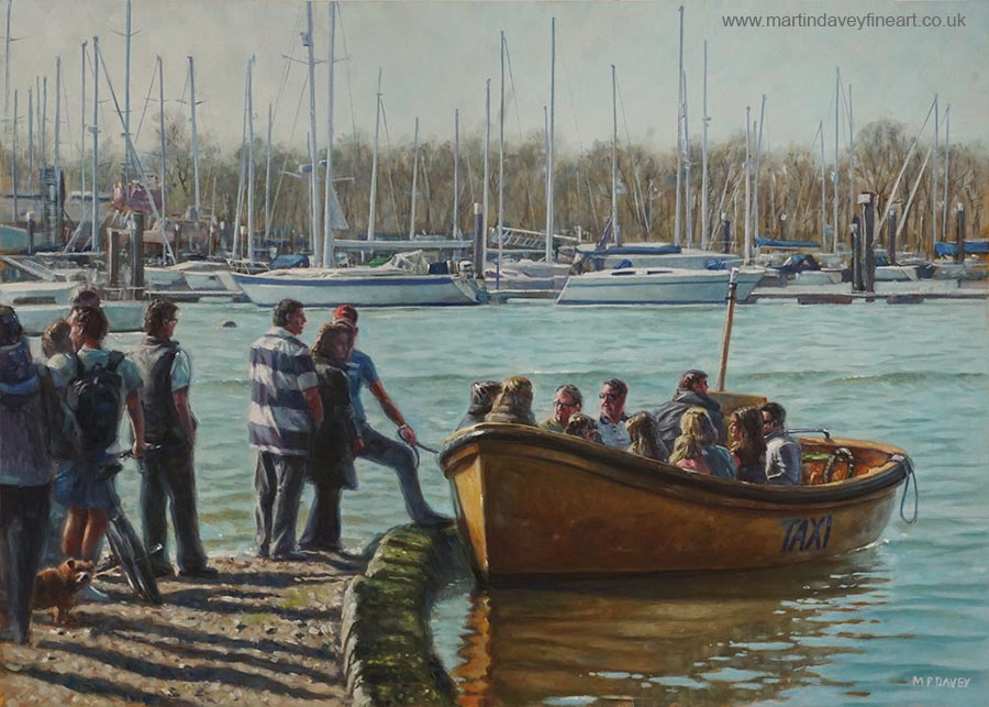 Passengers Boarding The Hamble Water Taxi In Hampshire oil painting
