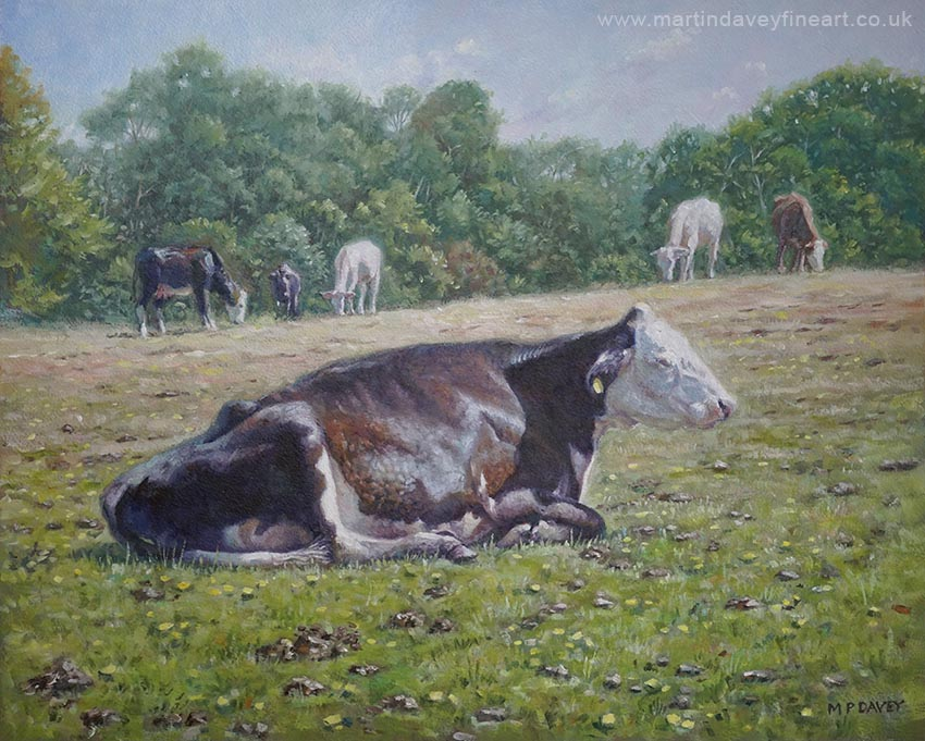 cow sleeping on grass oil painting