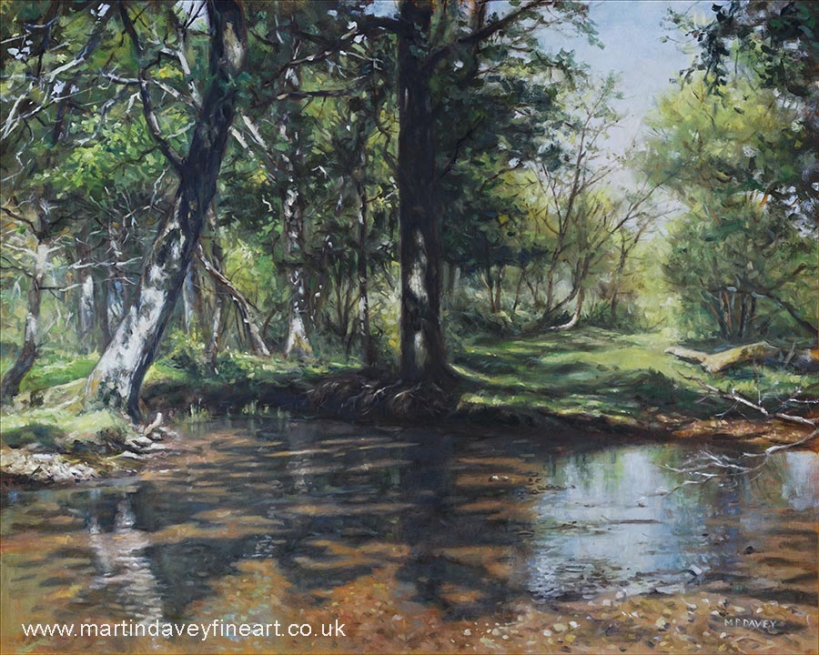 small stream set in the New Forest Hampshire UK oil painting