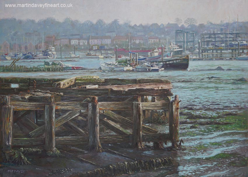 Evening on river itchen Southampton oil painting