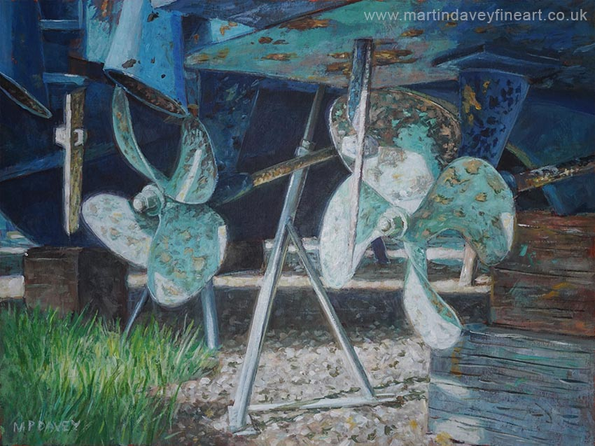 twin propellers on boat hull acrylic painting