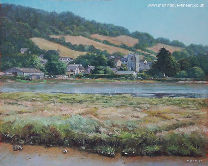 devon village of Axmouth in summer on river Axe oil painting