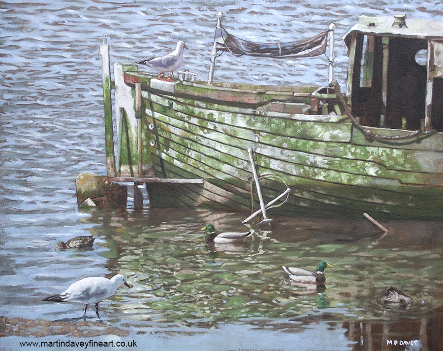 boat wreck with sea birds on river itchen southampton oil painting