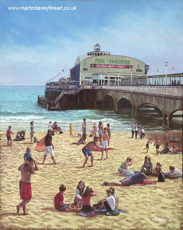 people relaxing on bournemouth beach with pier theatre in background oil painting