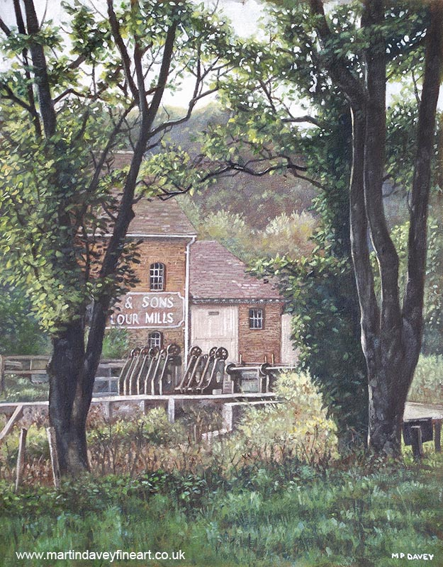 throop flour mill throop bournemouth oil painting