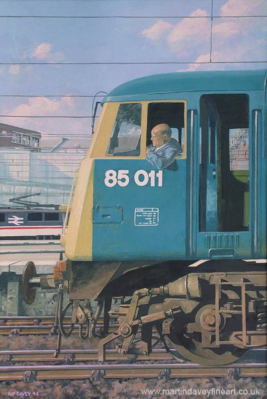BR class 85 electric railway locomotive at euston acrylic painting