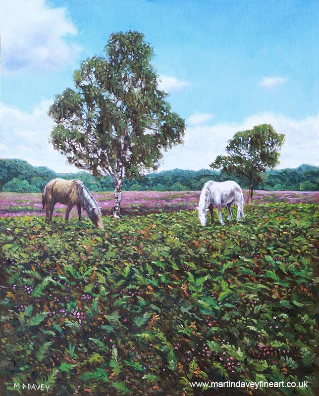 horses_and_heather_in_the_new_forest_oil painting