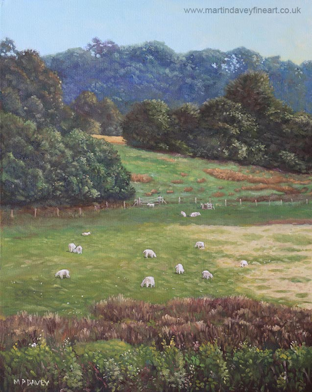 Sheep on devon hills_ oil painting