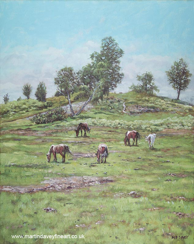 painting of hill with horses lyndhurst new forest
