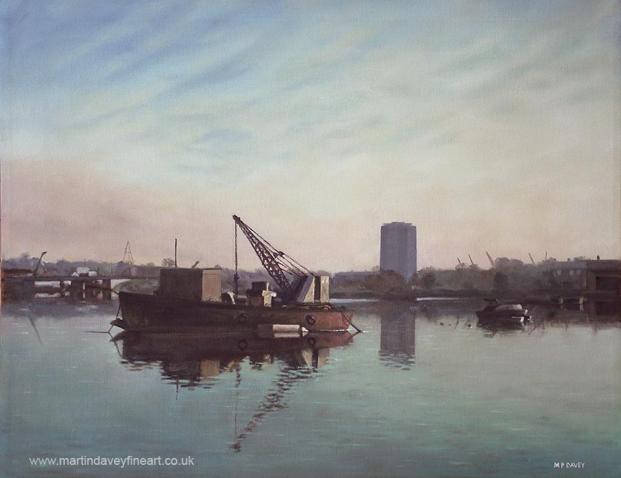 old barge and boats at southampton northam river itchen oil painting