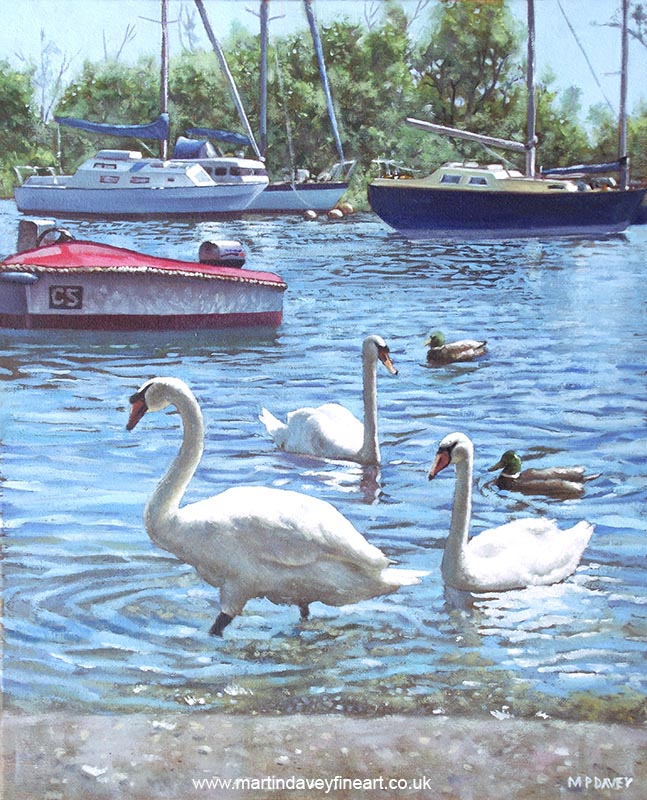 swans ducks and boats at christchurch harbour uk oil painting