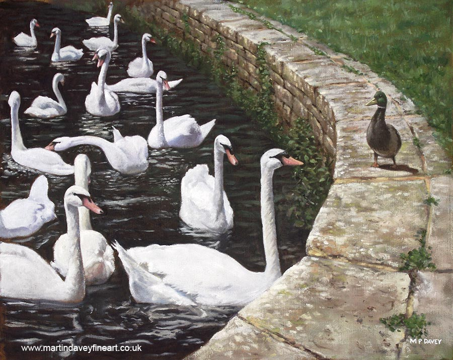 wans and duck together in conversation at christchurch quay oil painting