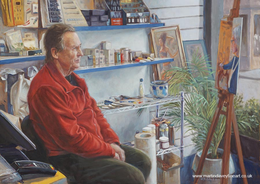 bob jackson in Southampton art shop oil painting