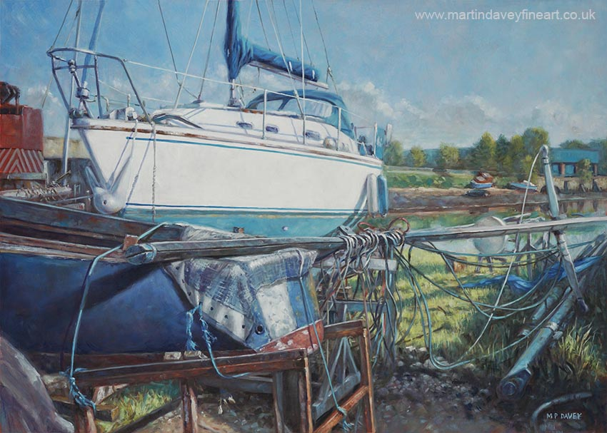 boat on land in marina with parts Hampshire  oil painting