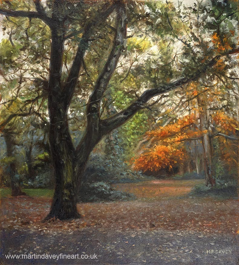tree near to Southampton common entrance oil painting