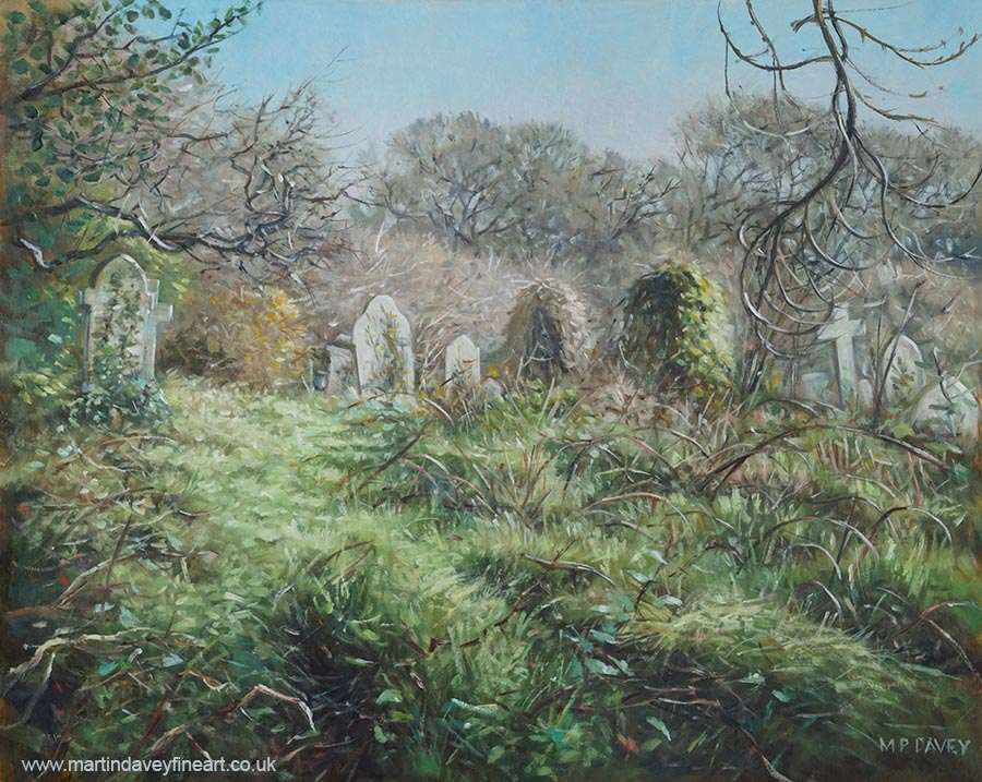 Southampton old cemetery in autumn southampton oil painting